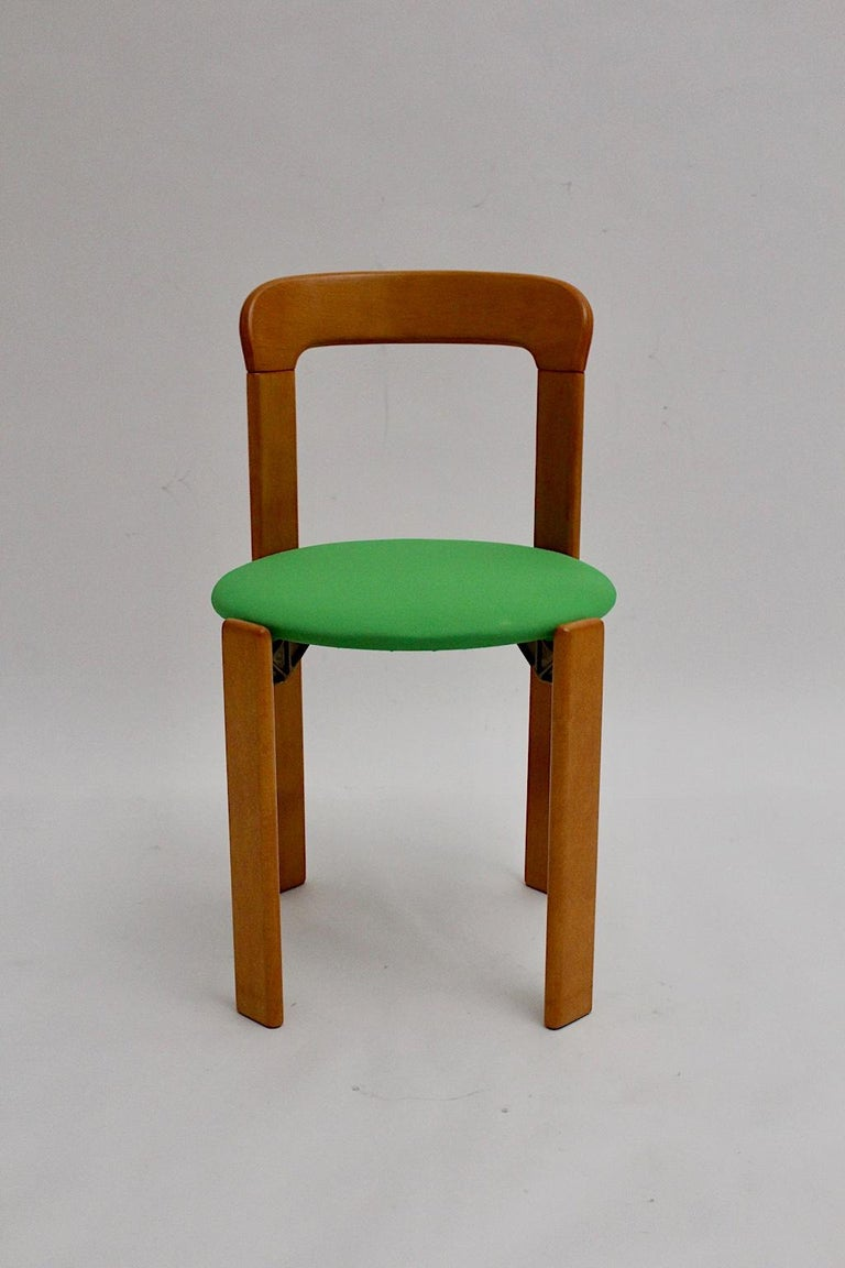 Mid-Century Modern Set of Seven Brown Wood Dining Room Chairs by Bruno Rey 1970s For Sale 5