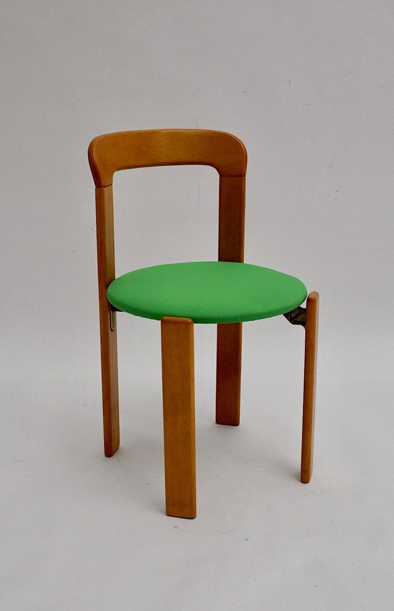 Mid-Century Modern Set of Seven Brown Wood Dining Room Chairs by Bruno Rey 1970s For Sale 6