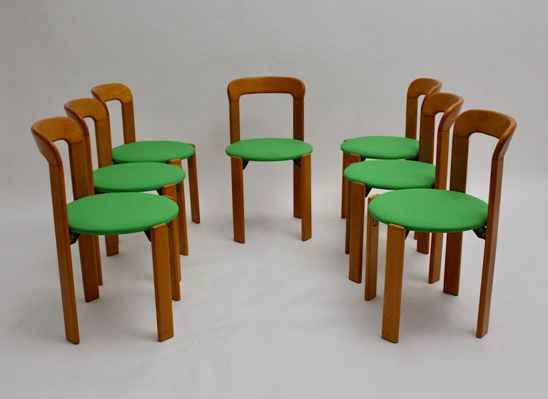 Beech Mid-Century Modern Set of Seven Brown Wood Dining Room Chairs by Bruno Rey 1970s For Sale