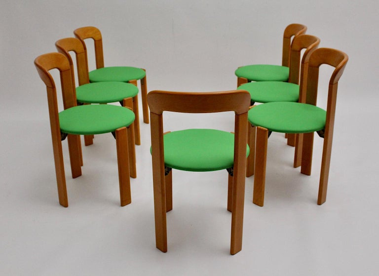 Mid-Century Modern Set of Seven Brown Wood Dining Room Chairs by Bruno Rey 1970s For Sale 1