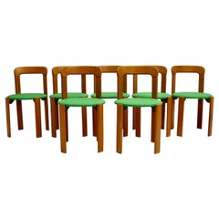Mid-Century Modern Set of Seven Brown Wood Dining Room Chairs by Bruno Rey 1970s