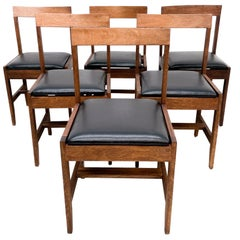 Mid-Century Modern Set of Six '6' Dining Chairs Clean Modern Lines