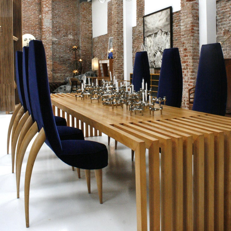Mid-Century Modern Set of Six Blue Velvet and Birchwood Zoomorphic French Chairs For Sale 8