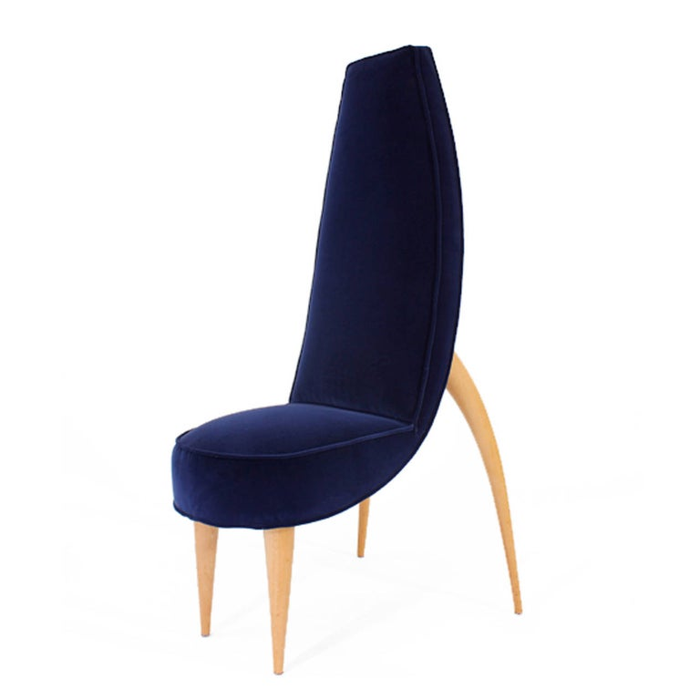 1970s Mid-Century Modern Set of Six Blue Velvet and Birchwood Zoomorphic French Chairs For Sale