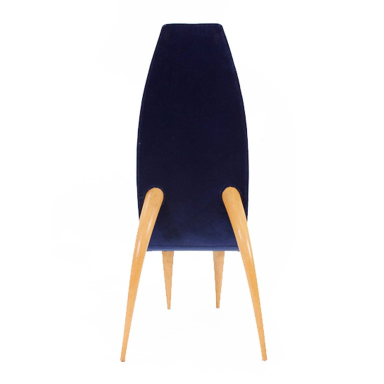 Mid-Century Modern Set of Six Blue Velvet and Birchwood Zoomorphic French Chairs For Sale 3