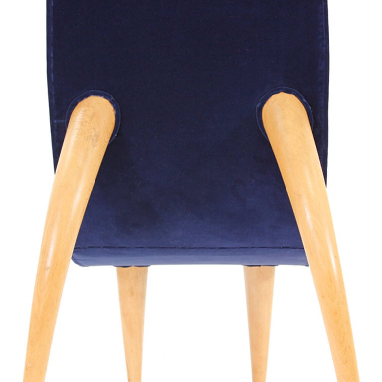 Mid-Century Modern Set of Six Blue Velvet and Birchwood Zoomorphic French Chairs For Sale 5