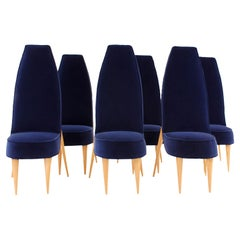 Mid-Century Modern Set of Six Blue Velvet and Birchwood Zoomorphic French Chairs