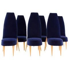 Mid-Century Modern Set of Six Blue Velvet and Birchwood Zoomorphic French Chairs
