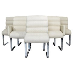 Mid-Century Modern Set of Six Chrome Cantilever Dining Chairs Laguna Pace