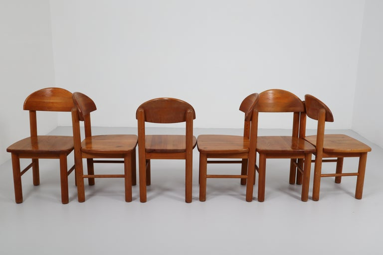 A set of four Mid-Century Modern dining chairs designed by Rainer Daumiller, manufactured by Hirtshals Sawmill in Denmark, circa 1970. The set is very well crafted and has a beautiful patina having been made from quality Scandinavian pine.