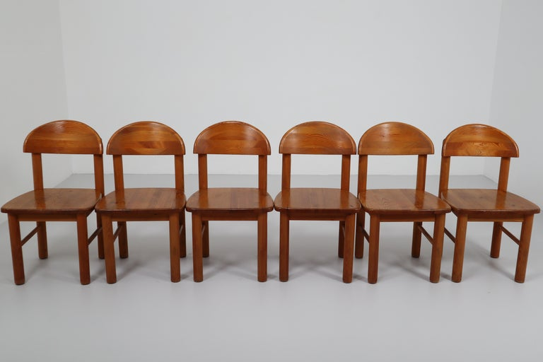 Mid-Century Modern Set of Six Pine Danish Chairs by Rainer Daumiller, 1970s For Sale 3