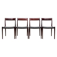Mid-Century Modern Set of four Rosewood Dining Chairs by Niels Moller N°77