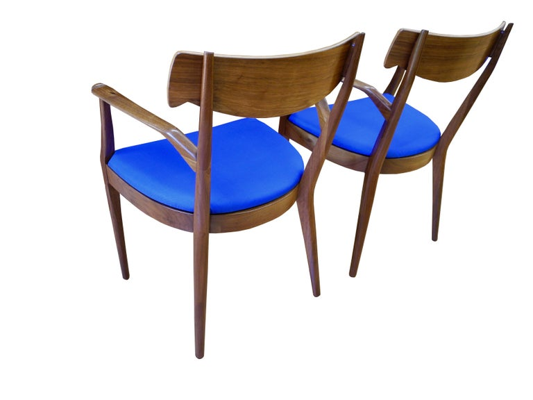 Mid-Century Modern Set of Six Walnut Dining Room Chairs by Kipp Stewart For Sale 3