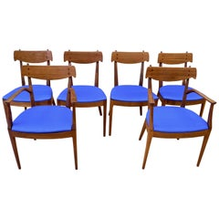 Mid-Century Modern Set of Six Walnut Dining Room Chairs by Kipp Stewart
