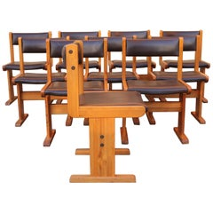 Mid-Century Modern Set of Ten Natural Wood and Brown Leather Chairs, Italy 1970'