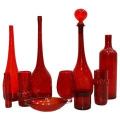 Mid-Century Modern Set of Ten Red Blow Murano Glass Italian vases