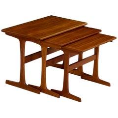 Mid-Century Modern Set of Three Teak Nesting Tables by Kai Kristiansen, Denmark