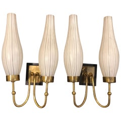 Mid-Century Modern Set of Two Brass and Murano Glass Wall Sconces, circa 1950