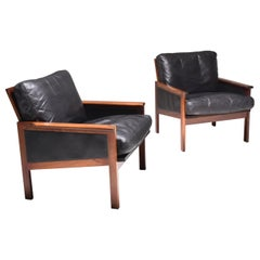 "Mid-Century Modern Set of Two ""Capella"" Illum Wikkelsø Easy Chairs in Leather"