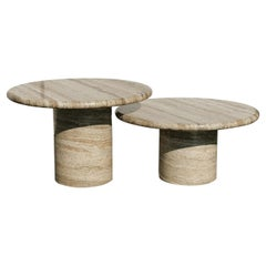 Mid-Century Modern Set of Two Pedestal Travertine Coffee Tables, Italy, 1970