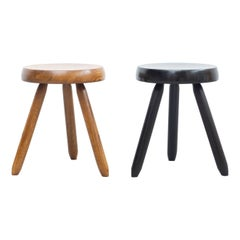 Mid-Century Modern Set of Two Stools in the Style of Charlotte Perriand