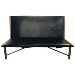Mid-Century Modern Settee or Loveseat in Black Vinyl