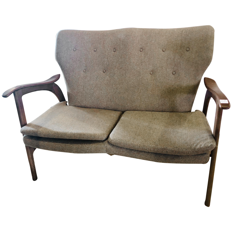 Mid-Century Modern Settee Sofa or Loveseat