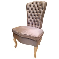Mid-Century Modern, Shabby Chic Silk Upholstered Chair