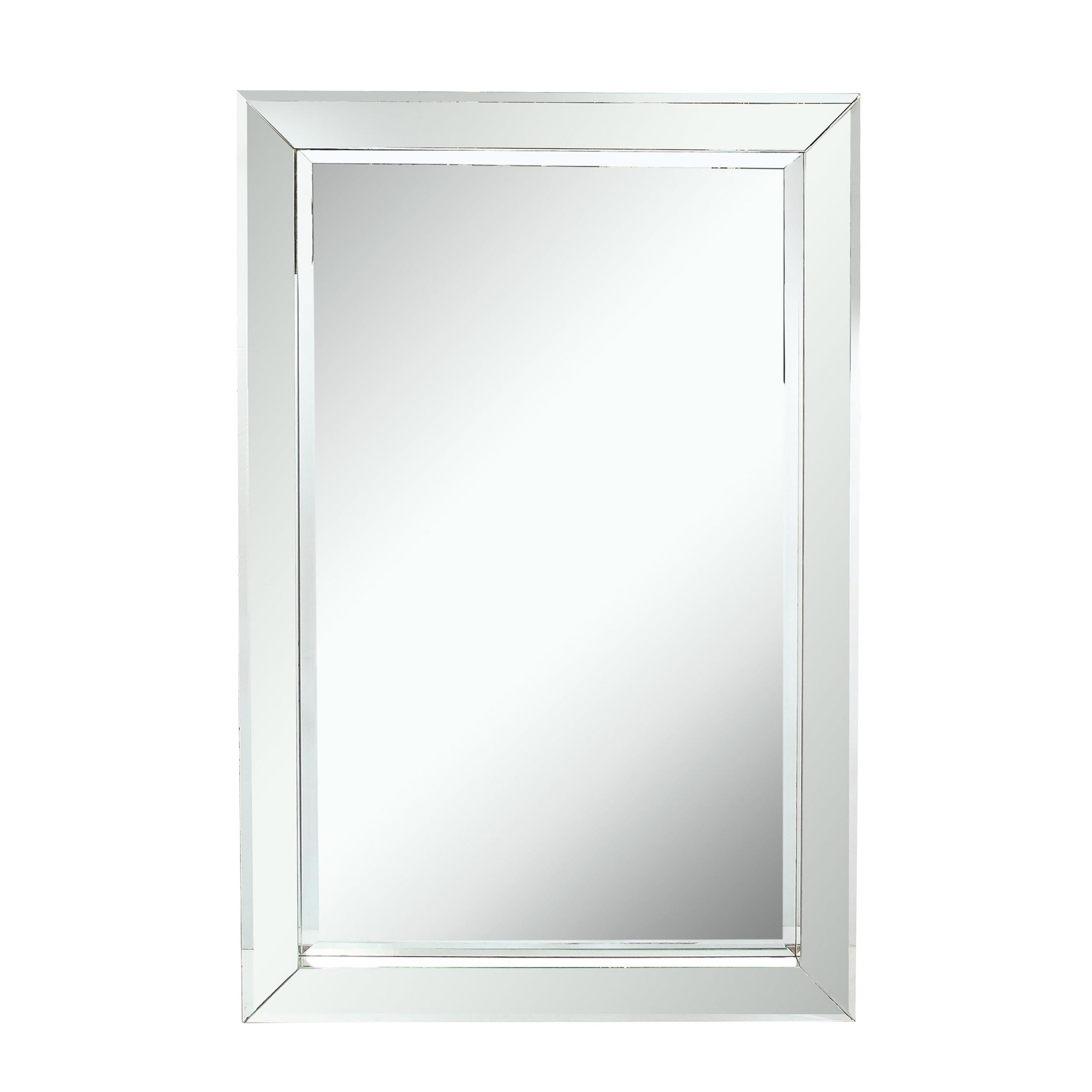 Mid-Century Modern Shadowbox Mirror with Mirrored Mosaic Frame