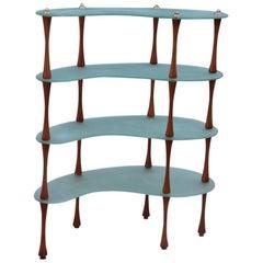 Mid-century modern Shelf Cristal and wood Italian design