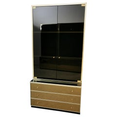 Mid-Century Modern Showcase and Chest of Drawers Mirrored Glass by Renato Zevi