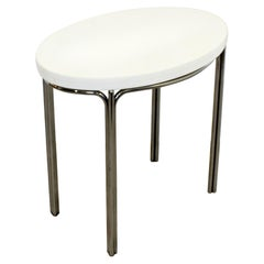 Mid-Century Modern Side End Accent Table Chrome Marble Knoll Era