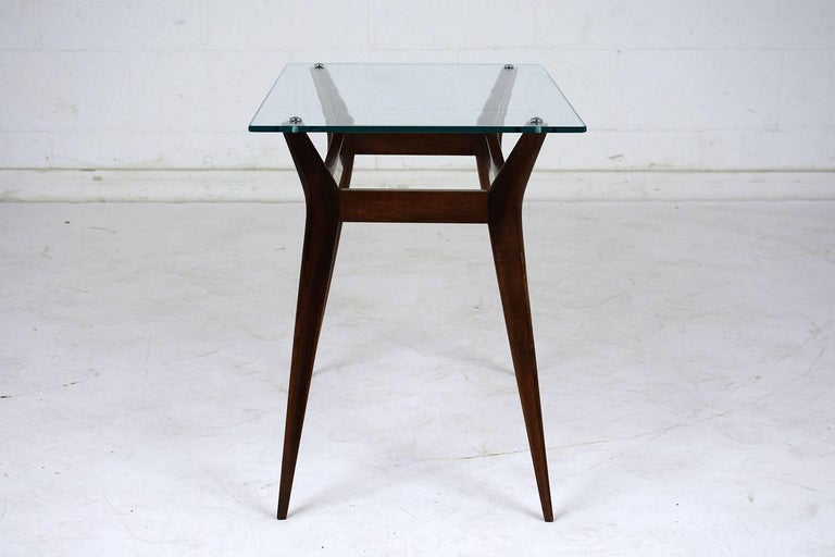 Carved Mid-Century Modern Side Table For Sale