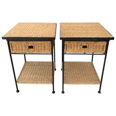 Mid-Century Modern Side Tables in Wicker/Rattan and Iron