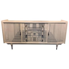 Mid-Century Modern Sideboard Architecturally Decorated and Painted