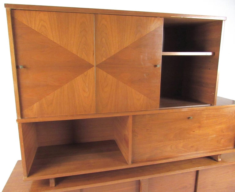 Walnut Mid-Century Modern Sideboard with Dry Bar For Sale
