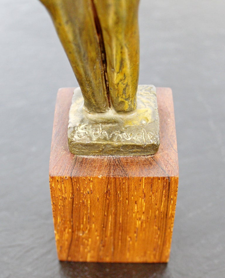 Mid-Century Modern Signed Arthur Schneider Bronze Couple Sculpture Wood Base For Sale 5