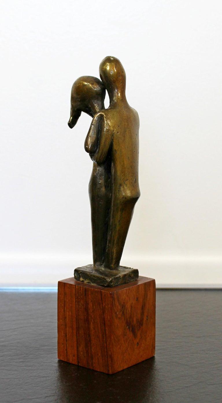 Late 20th Century Mid-Century Modern Signed Arthur Schneider Bronze Couple Sculpture Wood Base For Sale