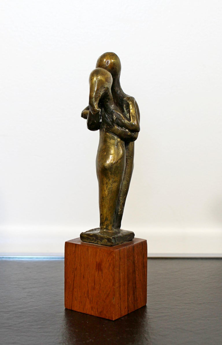 Mid-Century Modern Signed Arthur Schneider Bronze Couple Sculpture Wood Base For Sale 2