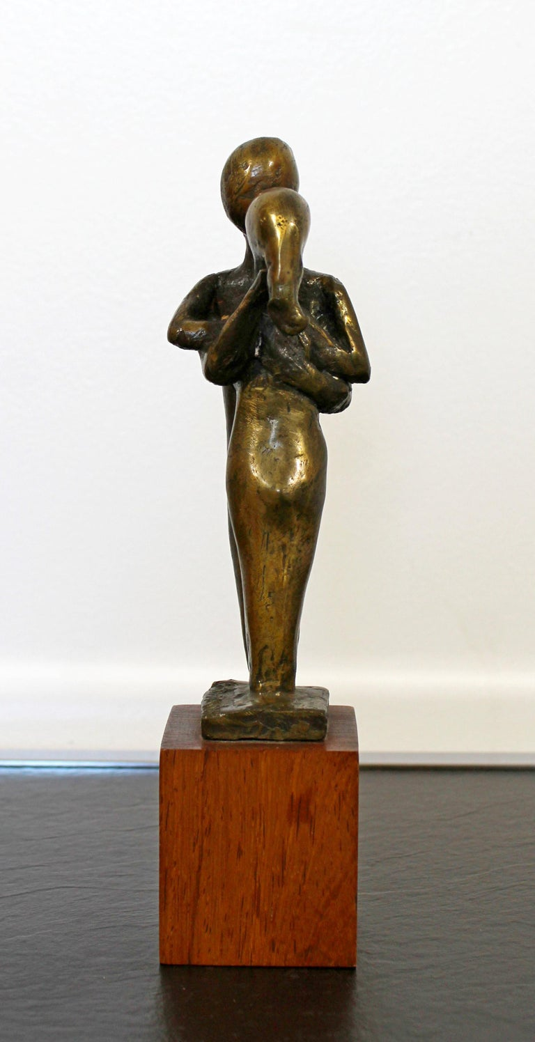 Mid-Century Modern Signed Arthur Schneider Bronze Couple Sculpture Wood Base For Sale 3