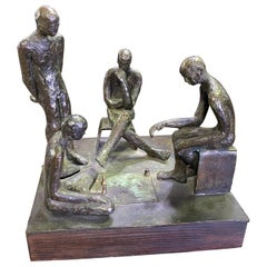 Mid-Century Modern Signed Bronze Sculpture of Four Contemplative Men in Park