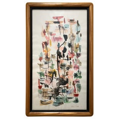 Mid-Century Modern Signed Framed Abstract Watercolor on Paper