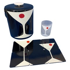 """Mid-Century Modern Signed Georges Briard """"Dry Martini"""" Barware and Ice Bucket"""
