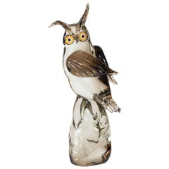 Mid-Century Modern Signed Hand Blown Murano Owl Sculpture by Licio Zanetti