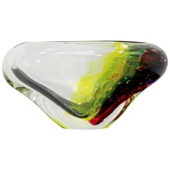 Mid-Century Modern Signed L. Onesto Murano Glass Art Bowl Table Sculpture, Italy