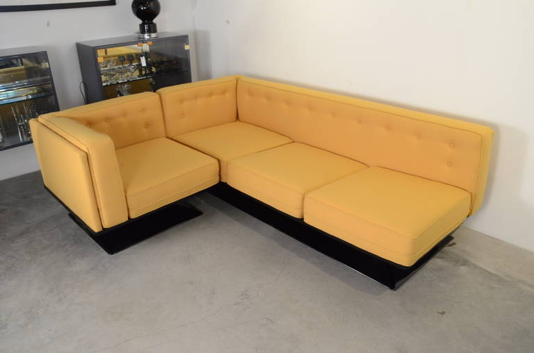Mid-Century Modern Signed Luigi Pellegrin, MIM Roma, Ico Parisi Sectional Sofa In Good Condition For Sale In Houston, TX