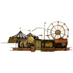 Mid-Century Modern Signed Original C. Jere Carnival Circus Wall Sculpture, 1970s