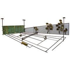 Mid-Century Modern Signed Original Curtis Jere Tennis Match Wall Sculpture 1970s