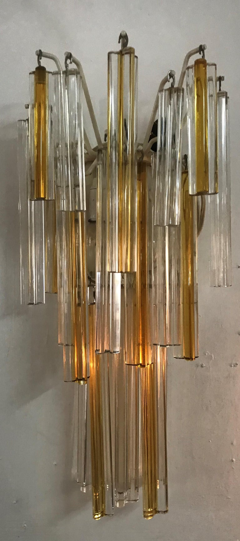 Mid-Century Modern Signed Pair of Murano 'Asta Triedo' Glass Sconces by Venini For Sale 4