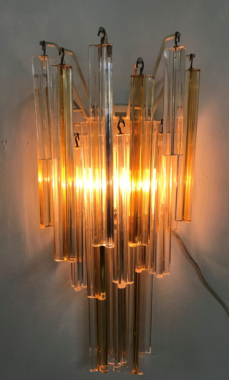 Mid-Century Modern Signed Pair of Murano 'Asta Triedo' Glass Sconces by Venini For Sale 5
